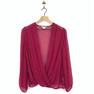 Boden Swiss Dot Textured Silk Wrap Blouse Size 8